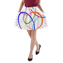 Abstract Background With Interlocking Oval Shapes A-Line Pocket Skirt
