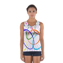 Abstract Background With Interlocking Oval Shapes Women s Sport Tank Top