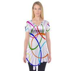 Abstract Background With Interlocking Oval Shapes Short Sleeve Tunic