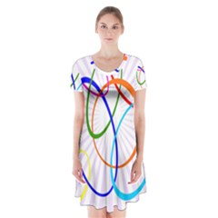 Abstract Background With Interlocking Oval Shapes Short Sleeve V-neck Flare Dress