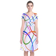 Abstract Background With Interlocking Oval Shapes Short Sleeve Front Wrap Dress