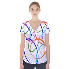 Abstract Background With Interlocking Oval Shapes Short Sleeve Front Detail Top