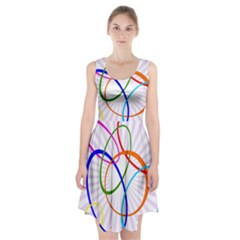 Abstract Background With Interlocking Oval Shapes Racerback Midi Dress