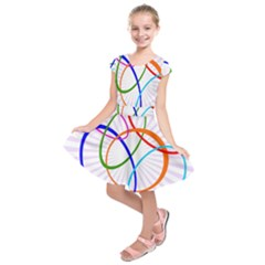 Abstract Background With Interlocking Oval Shapes Kids  Short Sleeve Dress