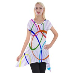 Abstract Background With Interlocking Oval Shapes Short Sleeve Side Drop Tunic