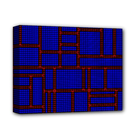 Line Plaid Red Blue Deluxe Canvas 14  x 11