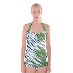 Fluorescent Flames Background Light Effect Abstract Boyleg Halter Swimsuit