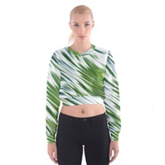Fluorescent Flames Background Light Effect Abstract Women s Cropped Sweatshirt