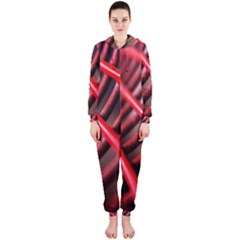 Abstract Of A Red Metal Chair Hooded Jumpsuit (ladies)
