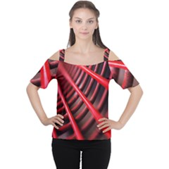Abstract Of A Red Metal Chair Women s Cutout Shoulder Tee