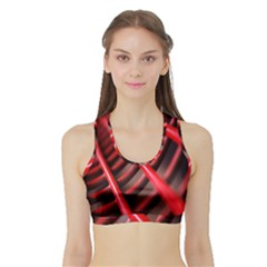 Abstract Of A Red Metal Chair Sports Bra With Border