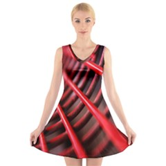 Abstract Of A Red Metal Chair V Neck Sleeveless Skater Dress