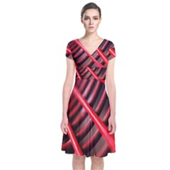 Abstract Of A Red Metal Chair Short Sleeve Front Wrap Dress