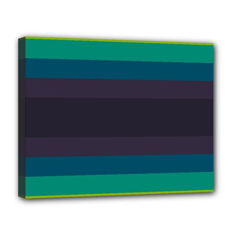Neon Stripes Line Horizon Color Rainbow Yellow Blue Purple Black Canvas 14  x 11