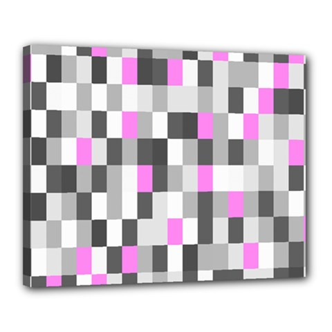 Pink Grey Black Plaid Original Canvas 20  x 16