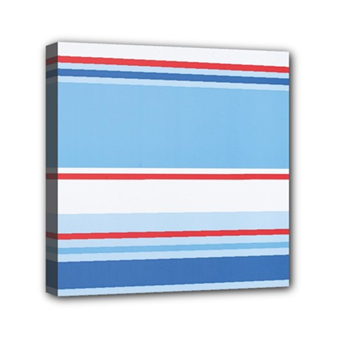 Navy Blue White Red Stripe Blue Finely Striped Line Mini Canvas 6  x 6