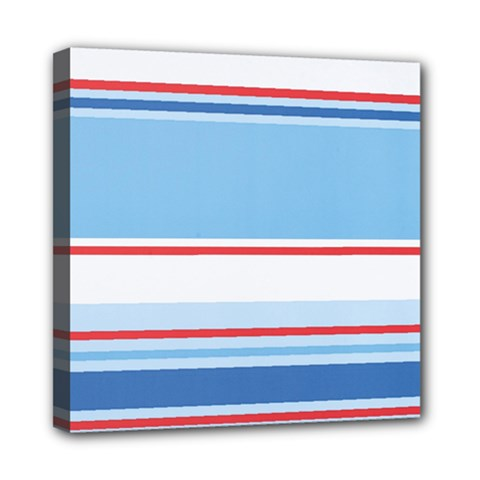 Navy Blue White Red Stripe Blue Finely Striped Line Mini Canvas 8  x 8