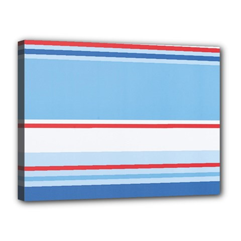Navy Blue White Red Stripe Blue Finely Striped Line Canvas 16  x 12