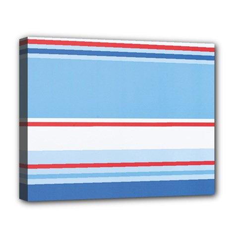 Navy Blue White Red Stripe Blue Finely Striped Line Deluxe Canvas 20  x 16