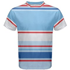 Navy Blue White Red Stripe Blue Finely Striped Line Men s Cotton Tee
