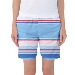 Navy Blue White Red Stripe Blue Finely Striped Line Women s Basketball Shorts