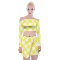 Plaid Chevron Yellow White Wave Off Shoulder Top With Skirt Set