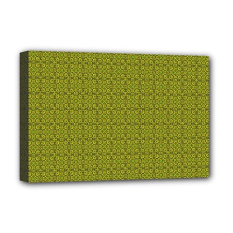 Royal Green Vintage Seamless Flower Floral Deluxe Canvas 18  x 12