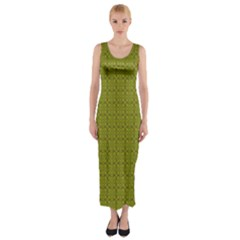 Royal Green Vintage Seamless Flower Floral Fitted Maxi Dress