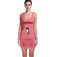 Minimalism Cat Pink Animals Sleeveless Bodycon Dress