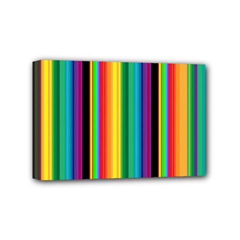 Multi Colored Colorful Bright Stripes Wallpaper Pattern Background Mini Canvas 6  x 4