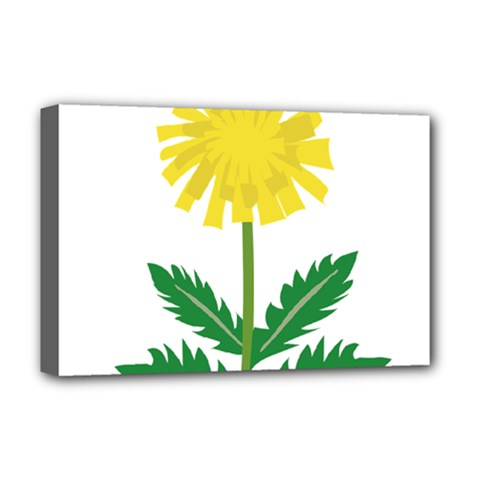Sunflower Floral Flower Yellow Green Deluxe Canvas 18  x 12