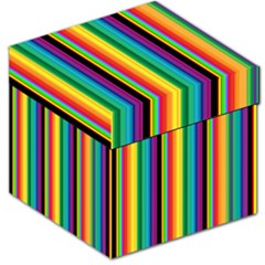 Multi Colored Colorful Bright Stripes Wallpaper Pattern Background Storage Stool 12