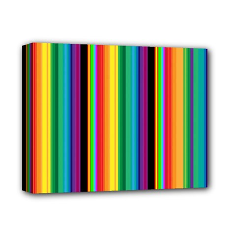 Multi Colored Colorful Bright Stripes Wallpaper Pattern Background Deluxe Canvas 14  x 11