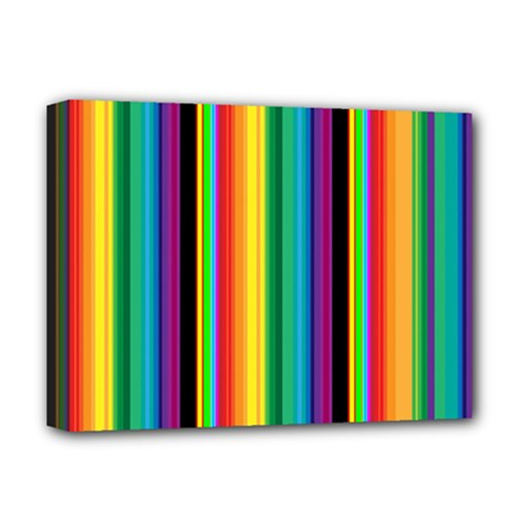Multi Colored Colorful Bright Stripes Wallpaper Pattern Background Deluxe Canvas 16  x 12