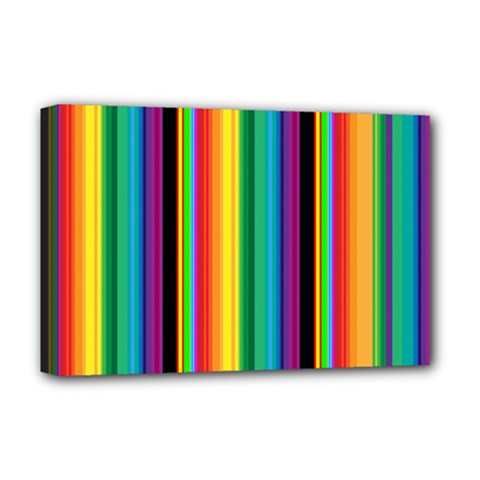 Multi Colored Colorful Bright Stripes Wallpaper Pattern Background Deluxe Canvas 18  X 12