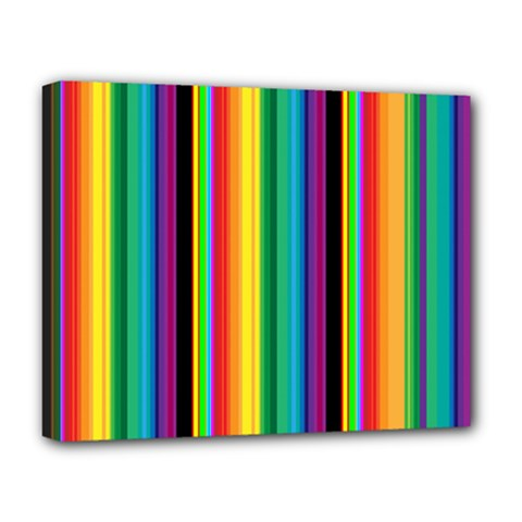 Multi Colored Colorful Bright Stripes Wallpaper Pattern Background Deluxe Canvas 20  x 16
