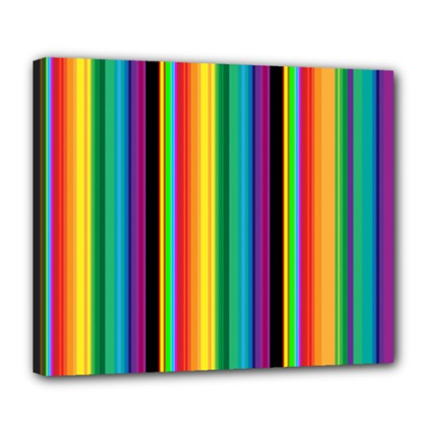 Multi Colored Colorful Bright Stripes Wallpaper Pattern Background Deluxe Canvas 24  x 20