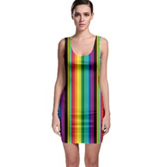 Multi Colored Colorful Bright Stripes Wallpaper Pattern Background Sleeveless Bodycon Dress