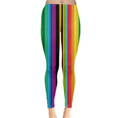Multi Colored Colorful Bright Stripes Wallpaper Pattern Background Leggings