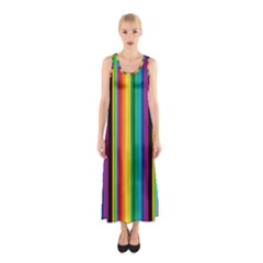Multi Colored Colorful Bright Stripes Wallpaper Pattern Background Sleeveless Maxi Dress