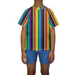Multi Colored Colorful Bright Stripes Wallpaper Pattern Background Kids  Short Sleeve Swimwear