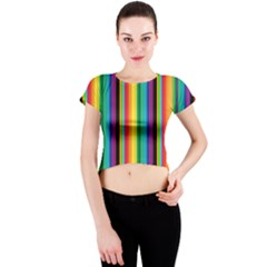 Multi Colored Colorful Bright Stripes Wallpaper Pattern Background Crew Neck Crop Top
