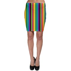 Multi Colored Colorful Bright Stripes Wallpaper Pattern Background Bodycon Skirt