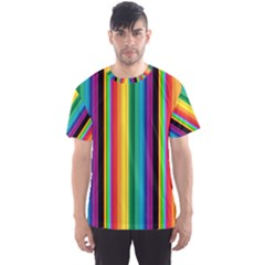 Multi Colored Colorful Bright Stripes Wallpaper Pattern Background Men s Sport Mesh Tee