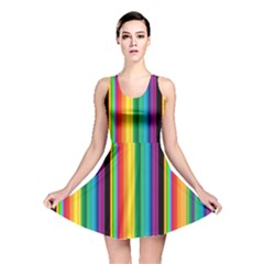 Multi Colored Colorful Bright Stripes Wallpaper Pattern Background Reversible Skater Dress