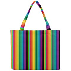 Multi Colored Colorful Bright Stripes Wallpaper Pattern Background Mini Tote Bag