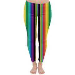 Multi Colored Colorful Bright Stripes Wallpaper Pattern Background Classic Winter Leggings