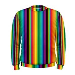 Multi Colored Colorful Bright Stripes Wallpaper Pattern Background Men s Sweatshirt