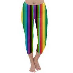 Multi Colored Colorful Bright Stripes Wallpaper Pattern Background Capri Winter Leggings