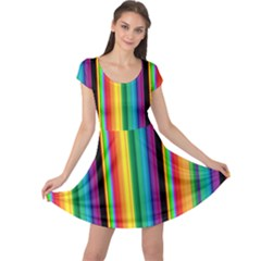 Multi Colored Colorful Bright Stripes Wallpaper Pattern Background Cap Sleeve Dresses